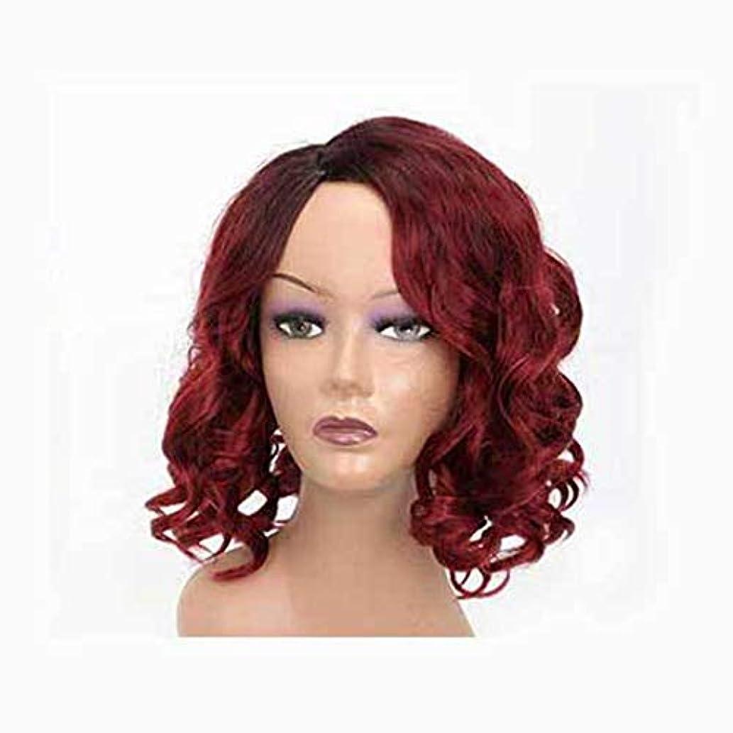 写真を撮る平らにする騒々しい女性のための赤いかつら短い髪ふわふわの波状の髪かつら自然に見える耐熱合成ファッションかつら短い巻き毛のコスプレ
