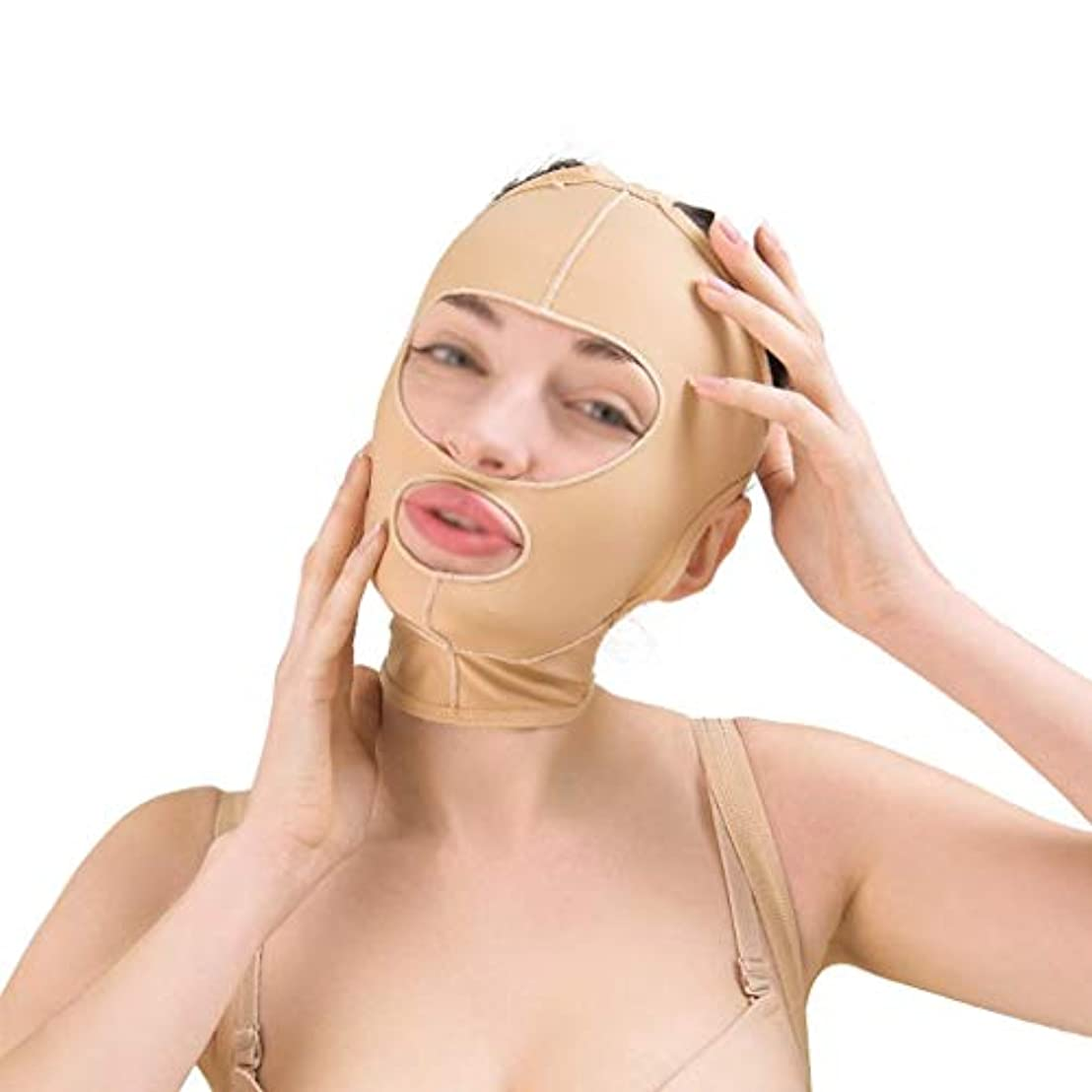 活性化ウェイトレスディレクター美容フェイスリフト減量ベルト、ほおスリムフィット、通気性フェイスリフト、引き締め、リフティング包帯、フェイシャルスキン包帯(サイズ:M),L