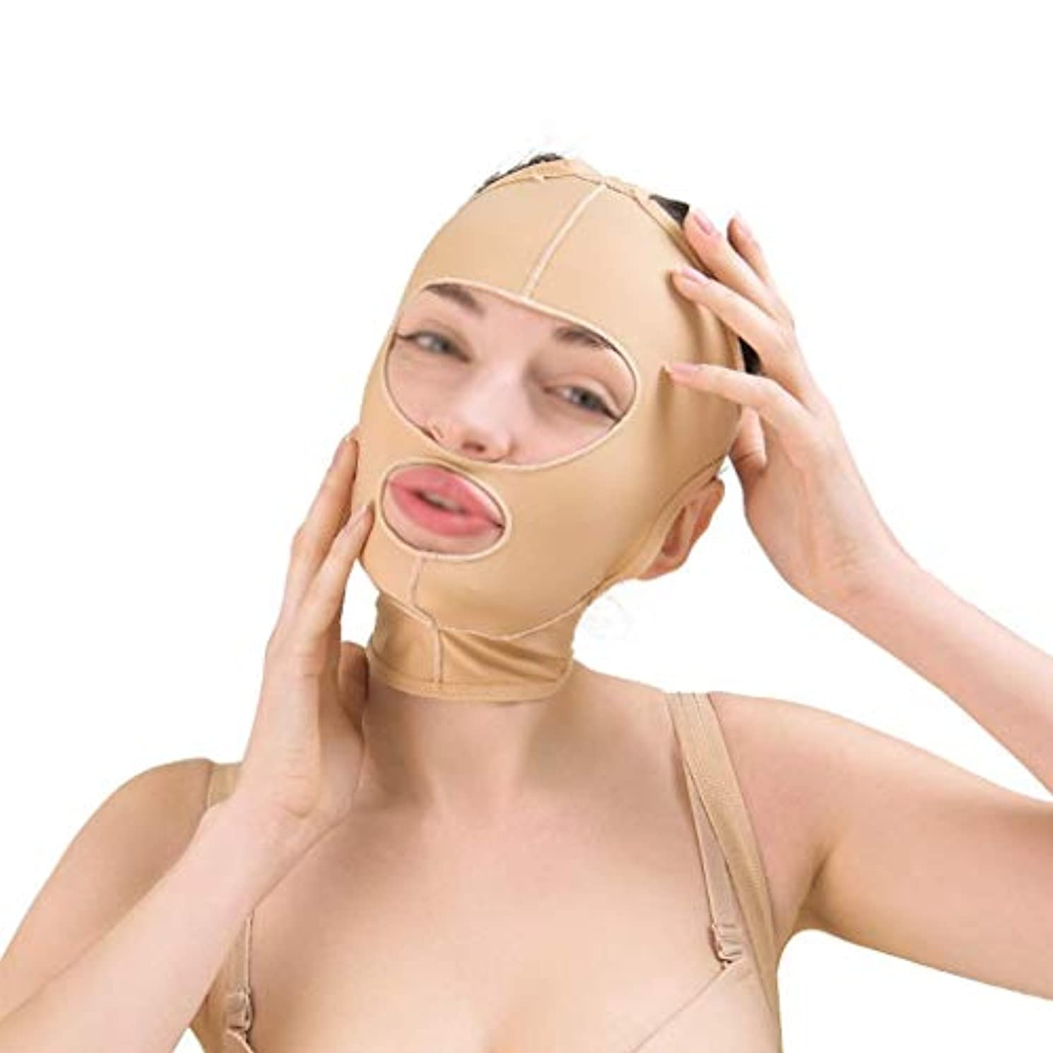 真実にフィヨルド肘美容フェイスリフト減量ベルト、ほおスリムフィット、通気性フェイスリフト、引き締め、リフティング包帯、フェイシャルスキン包帯(サイズ:M),L