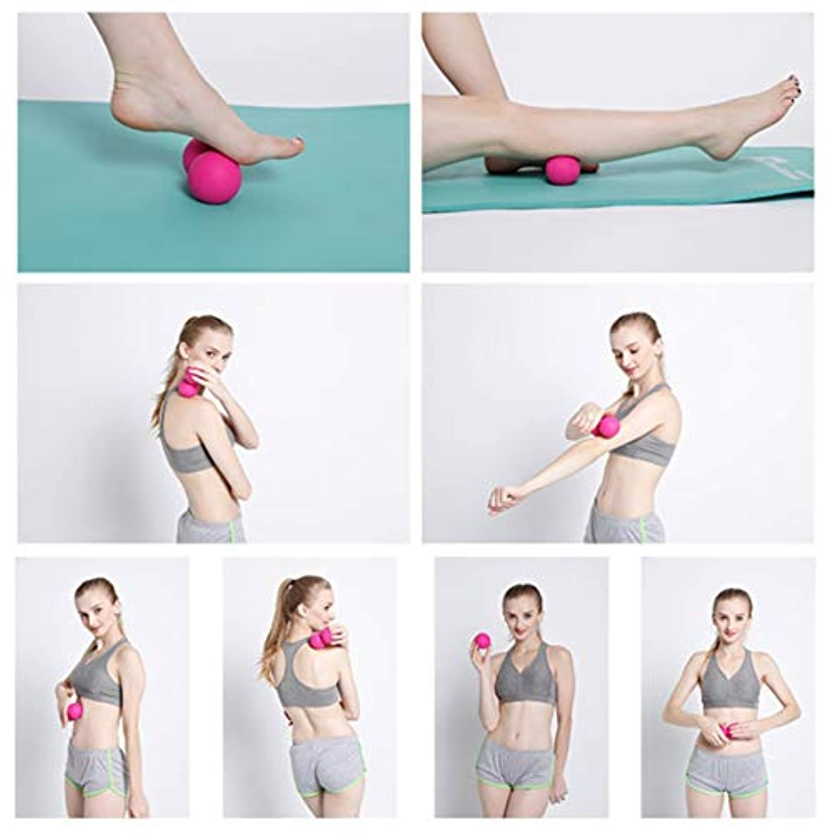 主婦先例エラーTPE Peanut Fascia Massage Relax Muscle Gym Training Body Pain Relief Hockey Ball Fatigue Training Double Ball...