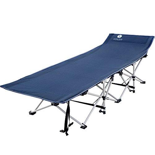 Yoler 折りたたみベッド キャンプベッド ハイコット ワイドサイズ 枕要らず お昼寝 来客 BBQなど簡易ベッド 野外用 収納袋付き