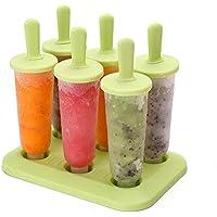 シリコーンアイスクリーム金型トレイで設定された6個のポプス金型 (色 : 緑)