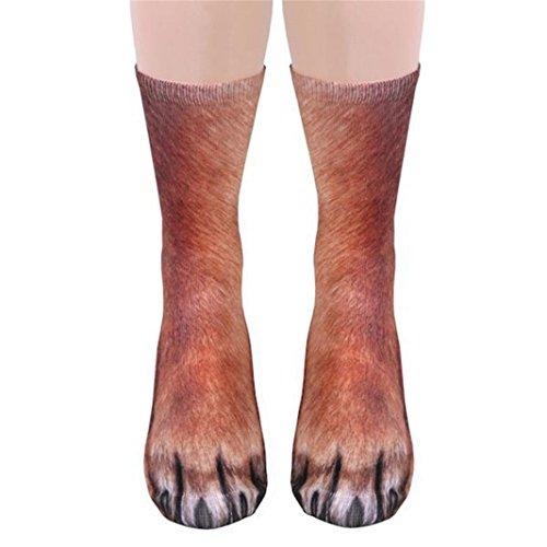 Aliciga 靴下 ソックス 動物の足 3D プリント おもしろ アンクルソックス 抗菌 防臭 かわいい おしゃれ コスチューム くるぶし丈 男女兼用 フリーサイズ プレゼント (犬)