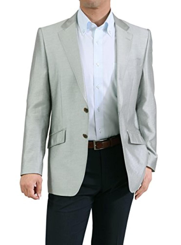 春夏 メンズ 2ツボタン 微光沢 (テンセル混紡 ) ジャケット (レギュラーフィット) サマー アンコンジャケット クールビズ