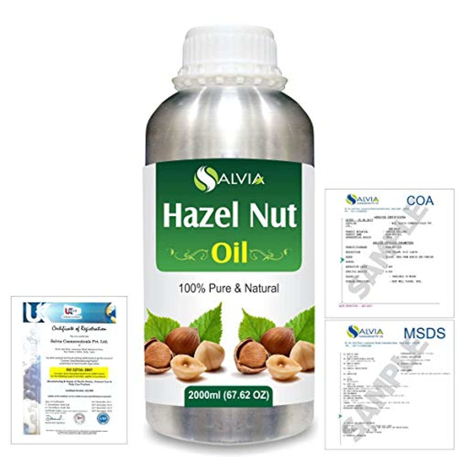 使い込むホールドオール自発的Hazel Nut (Corylus avellana) 100% Natural Pure Essential Oil 2000ml/67 fl.oz.