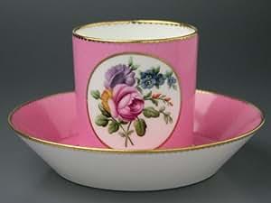 SEVRES(セーブル) SERVICE LITORON:POMPADOUR ROSE-2 (サービス リトロン/ポンパドール ピンク)  コーヒーカップ&ソーサー 十八世紀の彩色地花紋様R2 【セーブル工房の最重要作品】