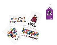 """Happy誕生日カード48、4"""" x 6""""カード、4のデザインのボックスwith Envelopes"""