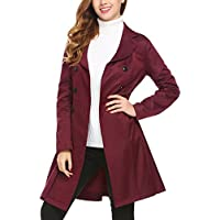 SE MIU Women's Slim Fit Lapel Double-Breasted Thick Jacket Fit Flare Trench Coat