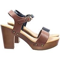 Soda Retro Metal Stud Detail Faux Wooden Block Heel Platform Sandal