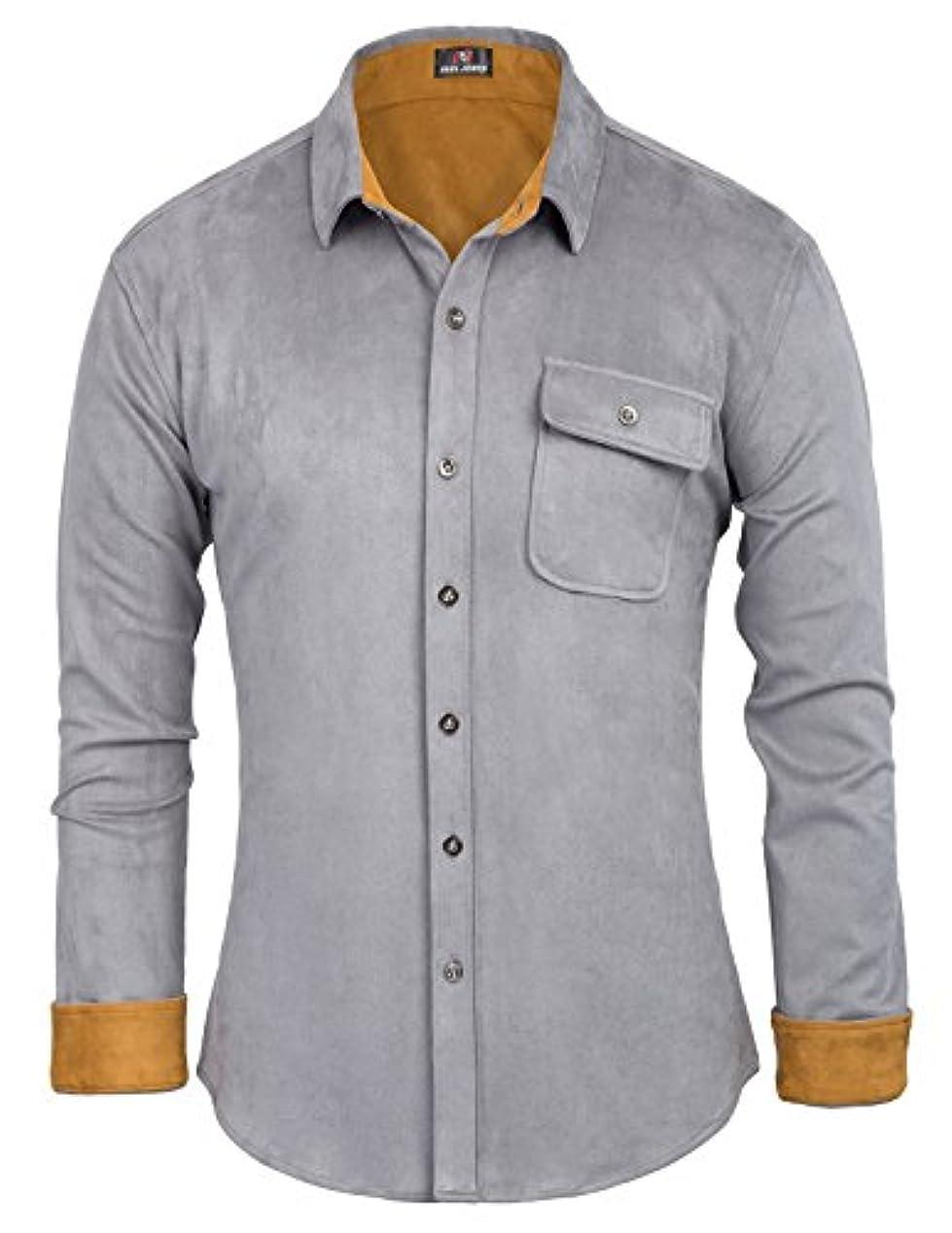 三ファセット長さメンズ ポケット付き ウエスタンシャツ メンズファッション コーデュロイシャツ グレー#2 S