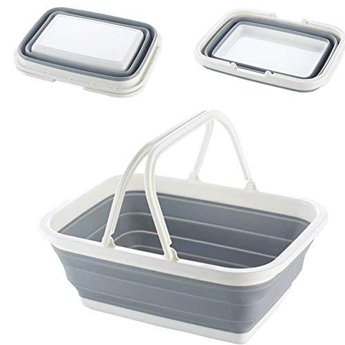 折りたたみバケツ 洗い桶 シリコン 折りたたみ かご キッチン キャンプ ハイキング アウトドアに最適(取っ手付き 長方形)