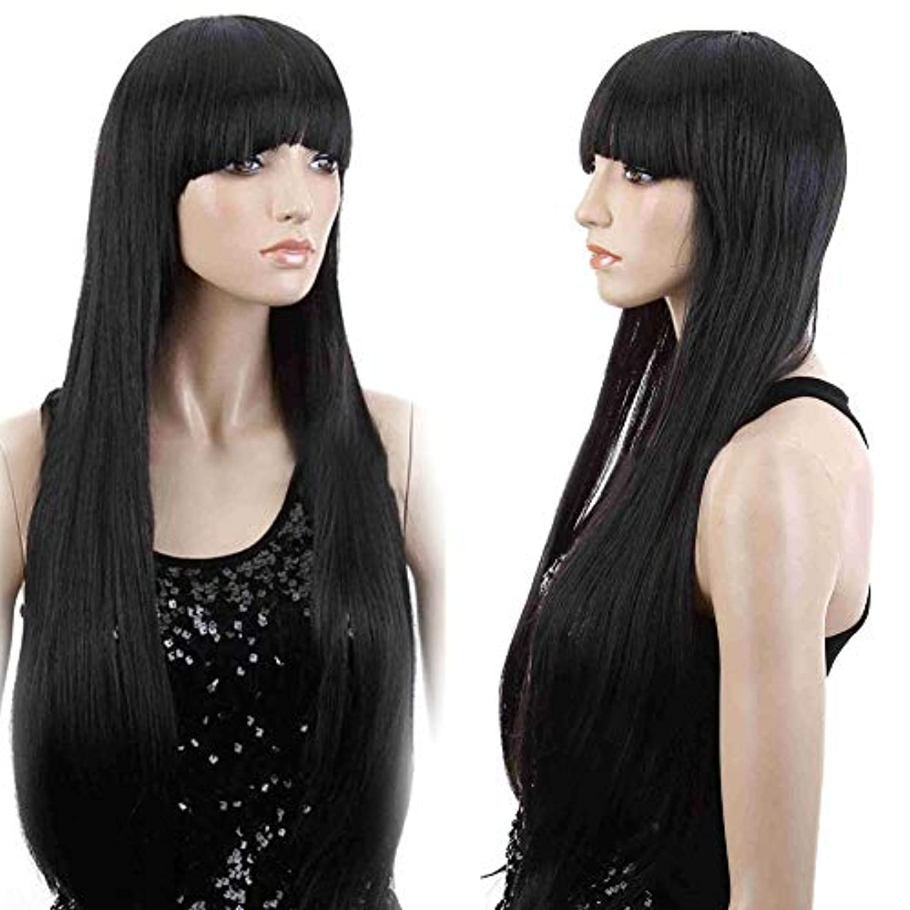 特異な定義高齢者slQinjiansav女性ウィッグ修理ツール女性前髪耐熱性ロングストレートウィッグコスプレパーティー合成ヘアピース