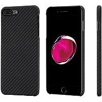 iPhone8plusケース/iPhone7plusケース「PITAKA」Magcase 軍用防弾チョッキ素材 アラミド繊維 アイフォン8プラス/アイフォン7プラス カバー スリム 薄型 超軽量 耐衝撃 高耐久性 ワイヤレス充電対応 5.5インチ 黒灰ツイル(ガラスフィルム付き)