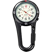 Loosnow Clip on Carabiner FOB Watch Clock for Hiking Mountaineering Outdoor Backpack