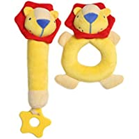 Plush Lion Plush Rattle Toy Rattle 2 pcs By HollyHOME [並行輸入品]