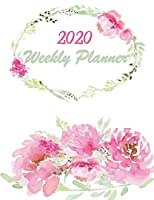 2020 Weekly Planner: Beautiful Pink and White Peony Flowers Planning Logbook