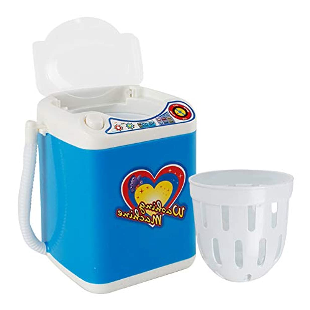 規範滞在洞察力洗濯機丈夫なクリーニング子供家具玩具ポータブル自動回転ミニ電気ふりプレイ電池式ランドリー排水バスケット化粧ブラシ(ブルー)