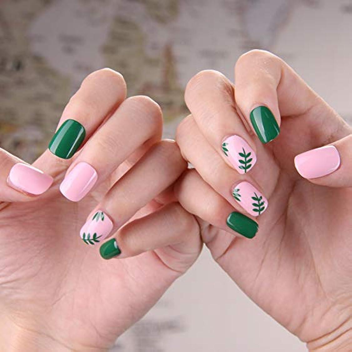 彼女トレイ有効可愛い優雅ネイル 女性気質 手作りネイルチップ 24枚入 簡単に爪を取り除くことができます フレンチネイルチップ 二次会ネイルチップ 結婚式ネイルチップ (粉と緑 グリーン)