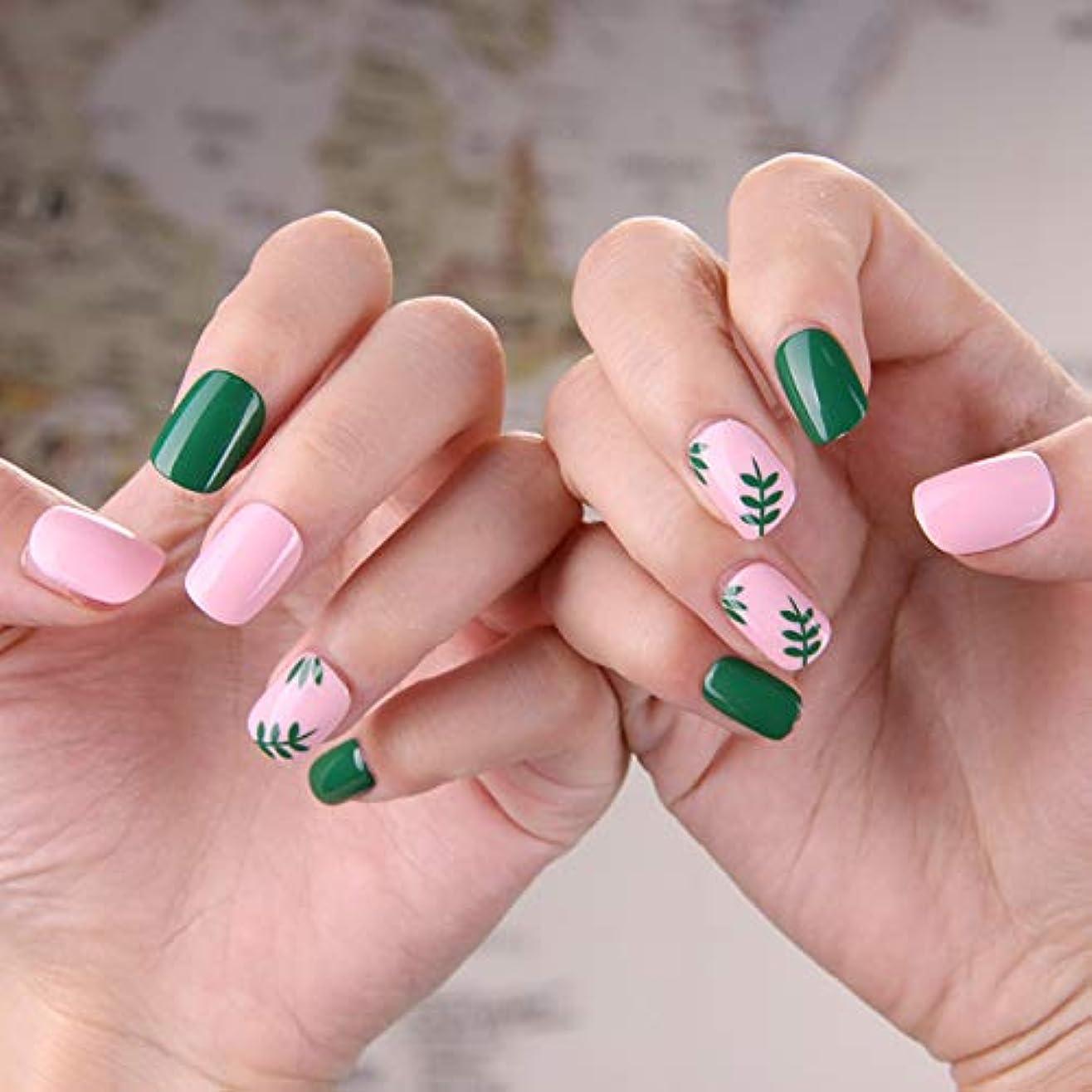 ランプ踊り子可塑性可愛い優雅ネイル 女性気質 手作りネイルチップ 24枚入 簡単に爪を取り除くことができます フレンチネイルチップ 二次会ネイルチップ 結婚式ネイルチップ (粉と緑 グリーン)