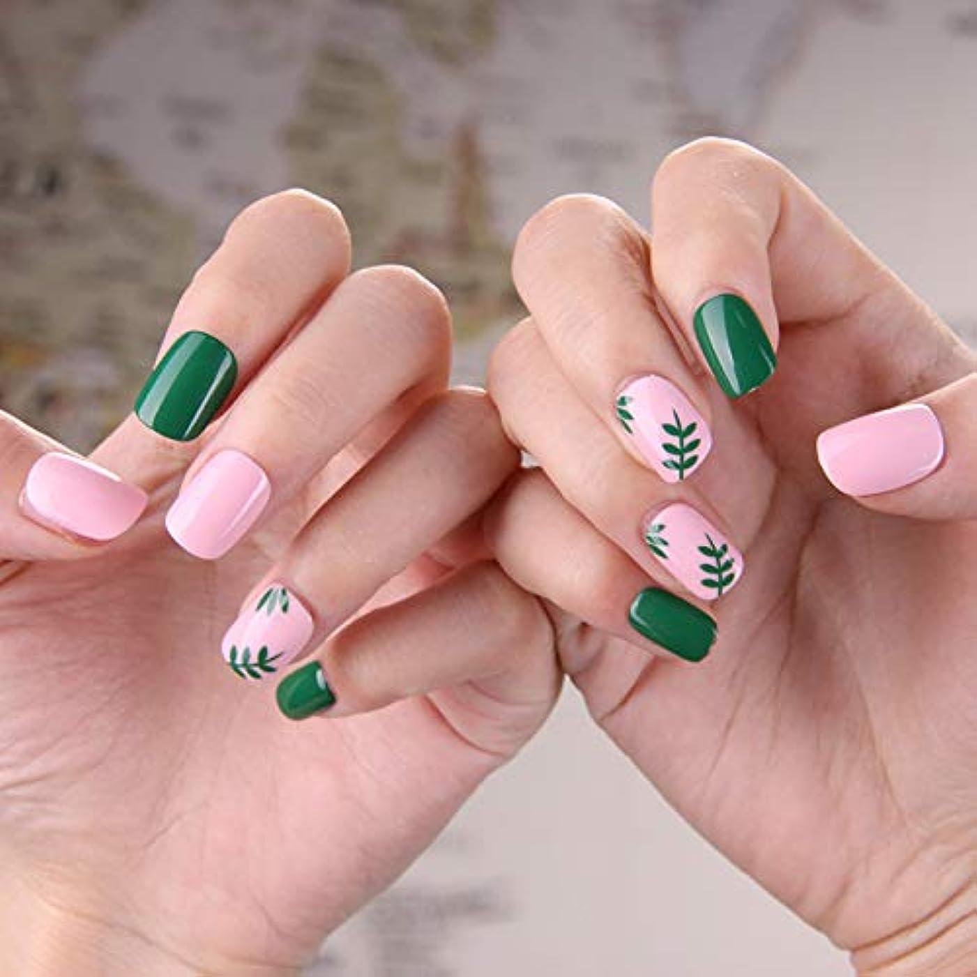 全員迷信あいまいな可愛い優雅ネイル 女性気質 手作りネイルチップ 24枚入 簡単に爪を取り除くことができます フレンチネイルチップ 二次会ネイルチップ 結婚式ネイルチップ (粉と緑 グリーン)