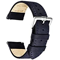 B&E Quick Release Watch Bands Top Grain Genuine Leather Watch Strap Smooth Bracelet for Men & Women - 16mm 18mm 19mm 20mm 22mm 24mm
