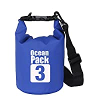 (3L, Blue) - ProOffer 2L/3L/5L/10L/15L/20L/30L 500D Tarpaulin Heavey-Duty PVC Water Proof Dry Bag Sack for Kayaking/Boating/Canoeing/Fishing/Rafting/Swimming/Camping/Snowboarding