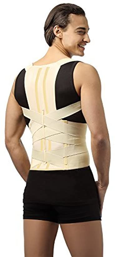 DELUXE POSTURE CORRECTOR, Lumbar Support Belt, Round Shoulder and Scoliosis Back Brace with Stiff Inserts (Large...