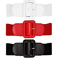 3 Pieces Women Skinny Waist Belt Thin Stretchy Bow Belt for Dress, 3 Colors