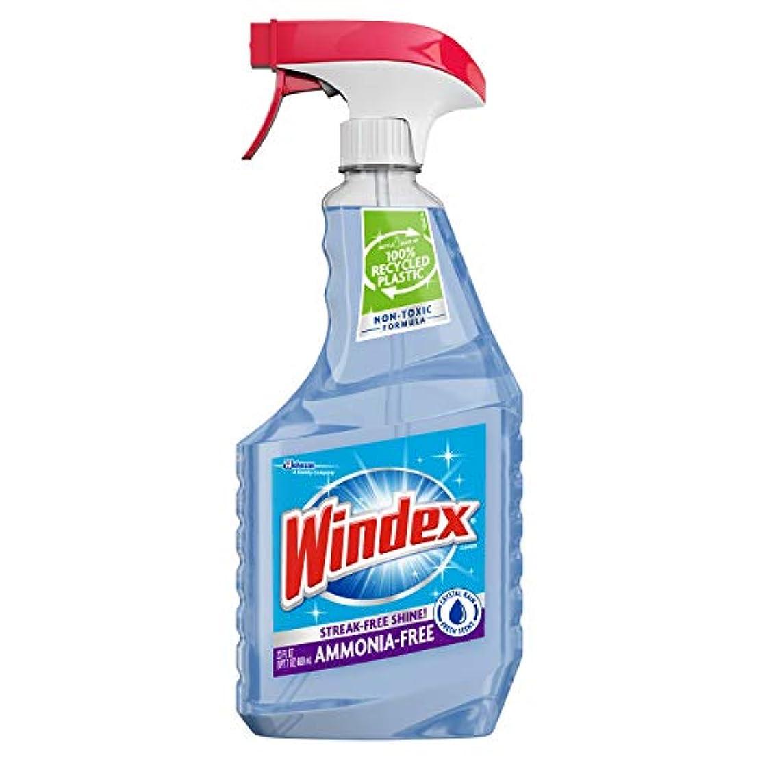 石鹸親補償Windex アンモニアフリー ガラスクリーナー トリガーボトル クリスタルレイン 23液量オンス