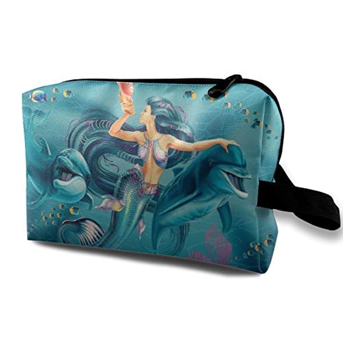 艶メディアマリンCool Mermaid Queen And Fish In The Blue Sea 収納ポーチ 化粧ポーチ 大容量 軽量 耐久性 ハンドル付持ち運び便利。入れ 自宅?出張?旅行?アウトドア撮影などに対応。メンズ レディース トラベルグッズ