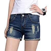 XINHEO Women's Fringed Booty Shorts Plus Size Ripped Holes Mid Waist Denim Shorts