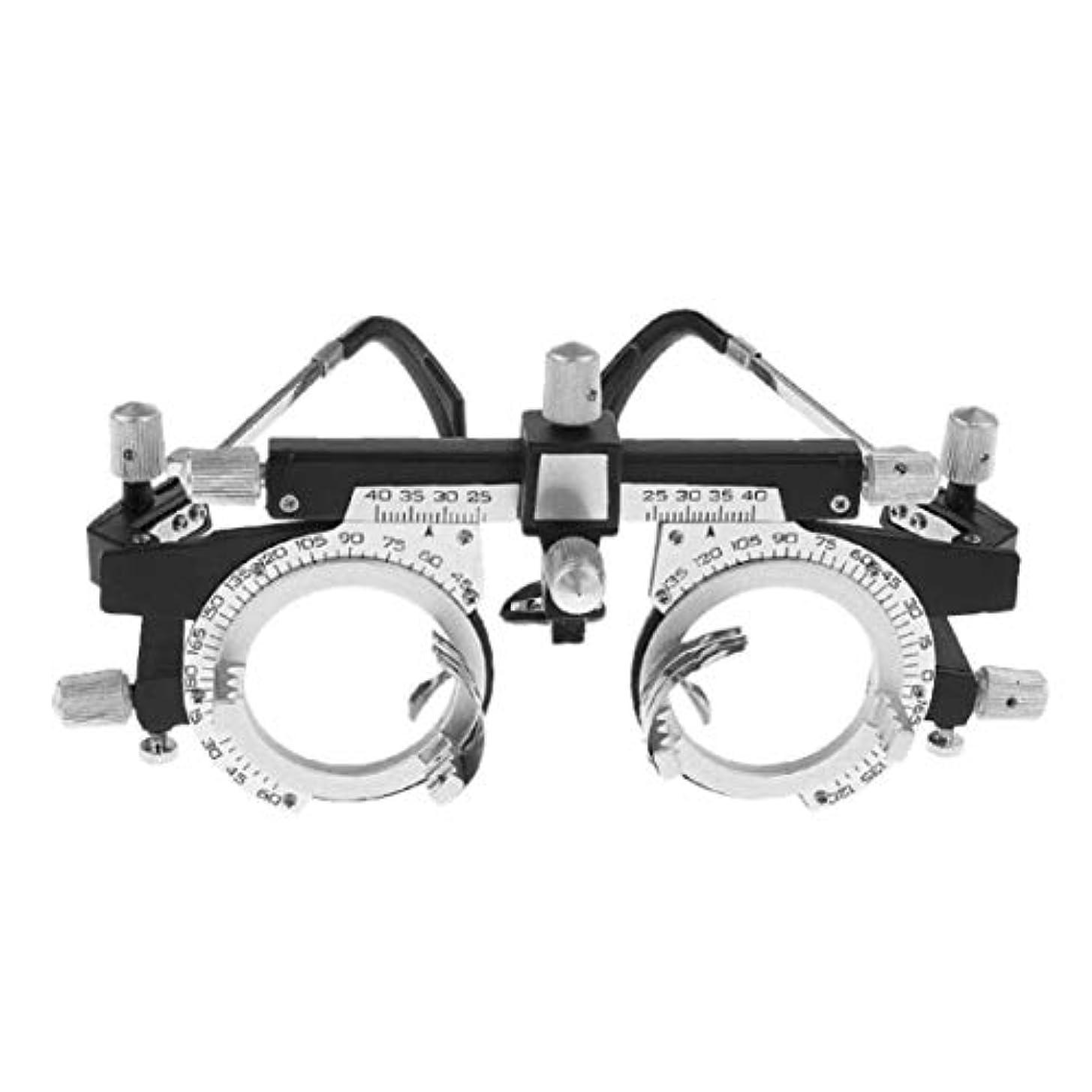 損傷自明従順な調整可能なプロフェッショナルアイウェア検眼メタルフレーム光学眼鏡眼鏡トライアルレンズメタルフレームPDメガネアクセサリー(シルバー&ブラック)