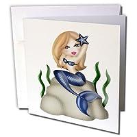 Anne Marie Baugh–Ocean–キュートブロンドHairedマーメイドinブルーSitting on a rock Illustration–グリーティングカード Individual Greeting Card