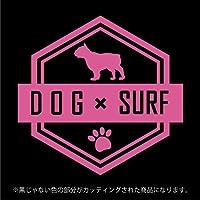 パグ DOG × SURFステッカー ペット サーフィン カッティングシート シール(12色から選べます) (ピンク)