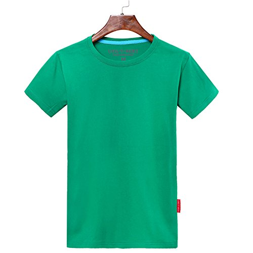Tシャツ メンズ コームドコットン 100%コットン 無地 シンプル 通気性 半袖 緑(Lサイズ)