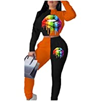 MogogN Women's Digital Printed Long Sleeve Lips 2 Pieces Sweat Tracksuits Sets