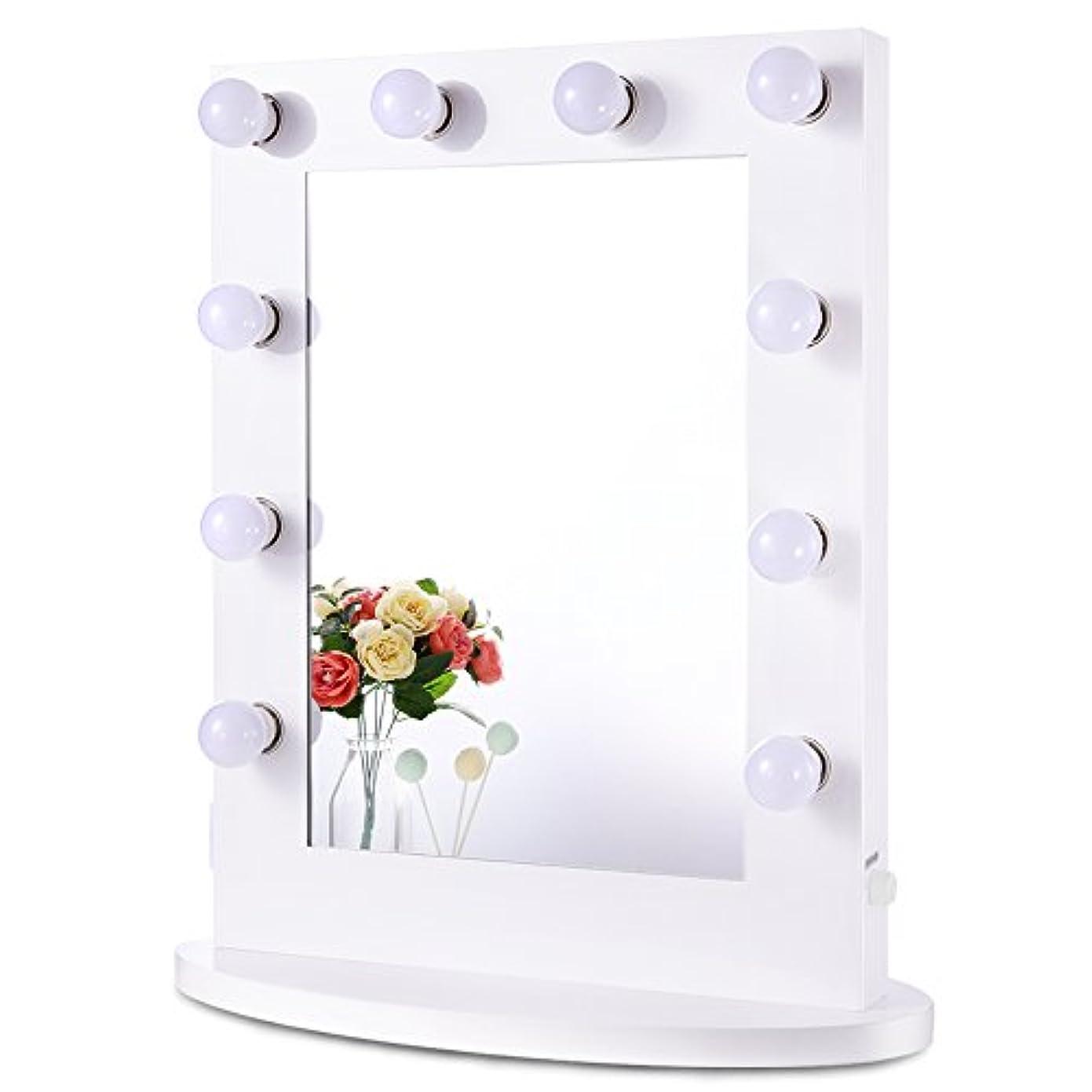 女優ミラー 女優鏡 大型 壁掛け LED ライト付き コンセント付き 無段階調光 化粧鏡 ハリウッドミラー ドレッサー (ホワイト) (縦型6550)