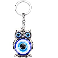 JewelBeauty Blue Owl Key Chain Evil Eye Feng Shui Glass Bead Turkish Good Lucky Hanging Charm Gift