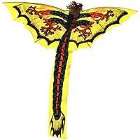 ハンドメイドのイエロードラゴン凧 一本の尻尾