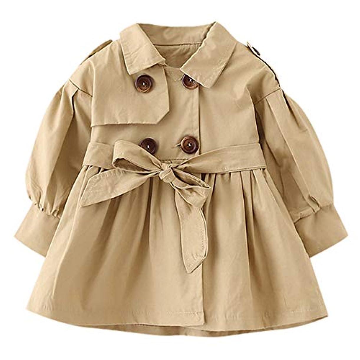 闇名誉あるテメリティ子供服 キッズ Yochyan 子供 女の子 ベビー服 ロングスリーブ コート ベルト ウィンドコート コートスカート トップス ファッション 無地 可愛い 柔らかい おしゃれ キュート カジュアル ウインドブレーカー