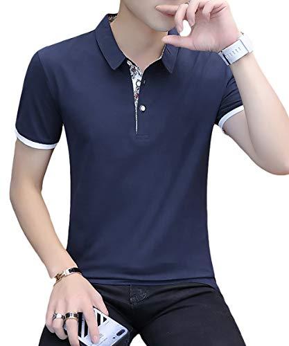 [meryueru(メリュエル)] 選べる 3タイプ カジュアル ポロシャツ 大人 スタイル お洒落 トップス 半袖 シャツ polo shirt カットソー ヘビロテ tシャツ カッコイイ かっこいい お兄系 お兄 オラオラ系 アメカジ おしゃれ カッコいい 20代 30代 着回し 今風 ビター かじゅある はんそで ちょいワル シンプル ベーシック メンズ (2XL ボタニカル-ネイビー)