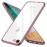 iPhone8 ケース iPhone7 ケース クリア tpu スリム 透明 耐衝撃 薄型 シリコン Qi充電対応 メッキ加工 アイフォン7 ケース 軽量 一体型 人気 カバー ローズゴールド