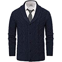 PAUL JONES Men's Knitted Cardigan Sweater Shawl Lapel Long Sleeve Cable Pattern