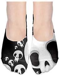 女性カジュアル白黒スカル(3)ローカットソックス滑り止めアスレチックソックス
