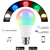 HaoDeng WiFi LED Light Bulb (B22) - Timer, Dimmable, Multicolor, Warm White - 45w Equivalent (4.5W), No Hub Required, Compatible with Alexa, Google Home Assistant and IFTTT