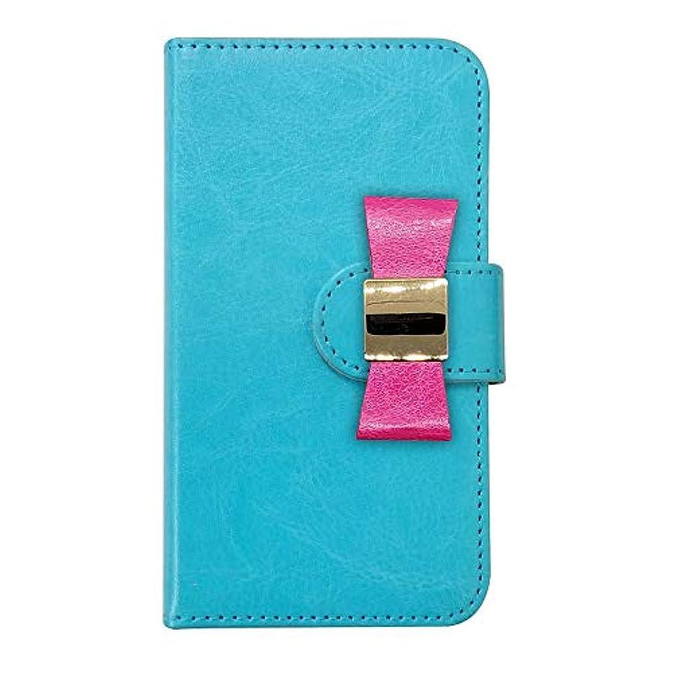 風ツイン絶滅sslink FREETEL SAMURAI REI 麗 (FTJ161B) 手帳型 スマホ ケース レザー リボン/ローズ デコ おしゃれ かわいい (カバー色ブルー) ダイアリータイプ 横開き カード収納 フリップ カバー スマートフォン