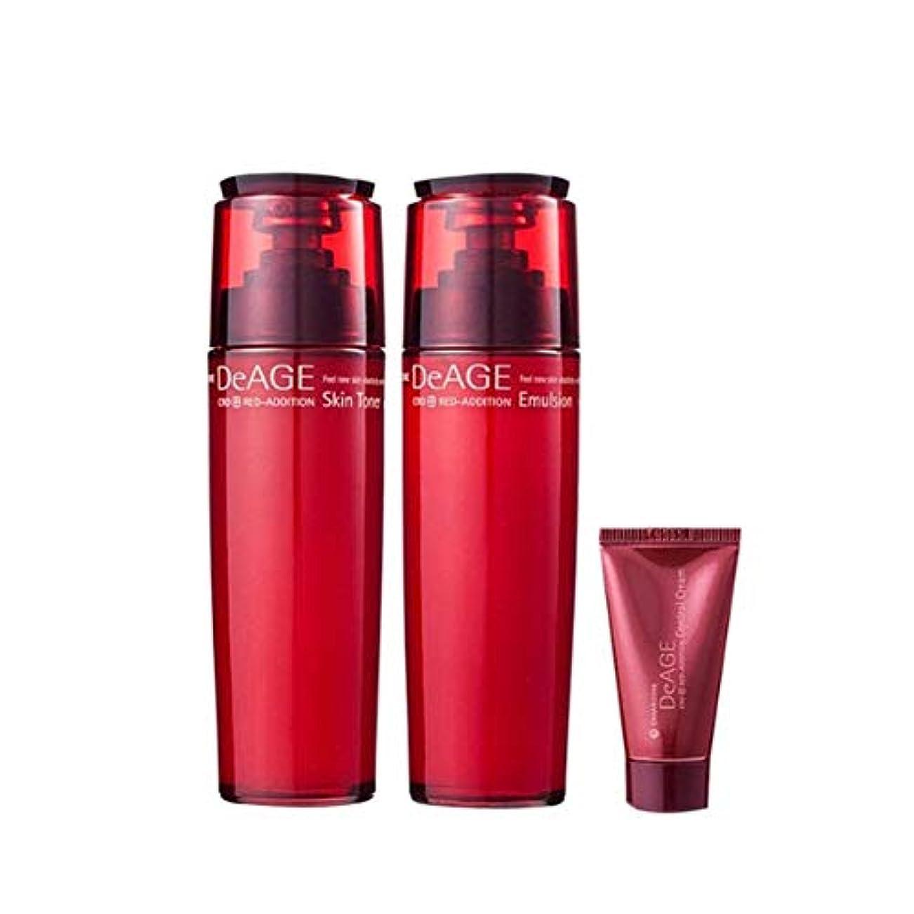 メンバー九月パイプチャムジョンディエイジレッドエディションセット(スキントナー130ml、エマルジョン130ml、コントロールクリーム15ml)、Charmzone DeAGE Red Addition Set(Skin Toner 130ml...