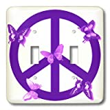 3drose LSP _ 40232 _ 2 Double Toggle Switch with DeepパープルButterflies Peace Sign