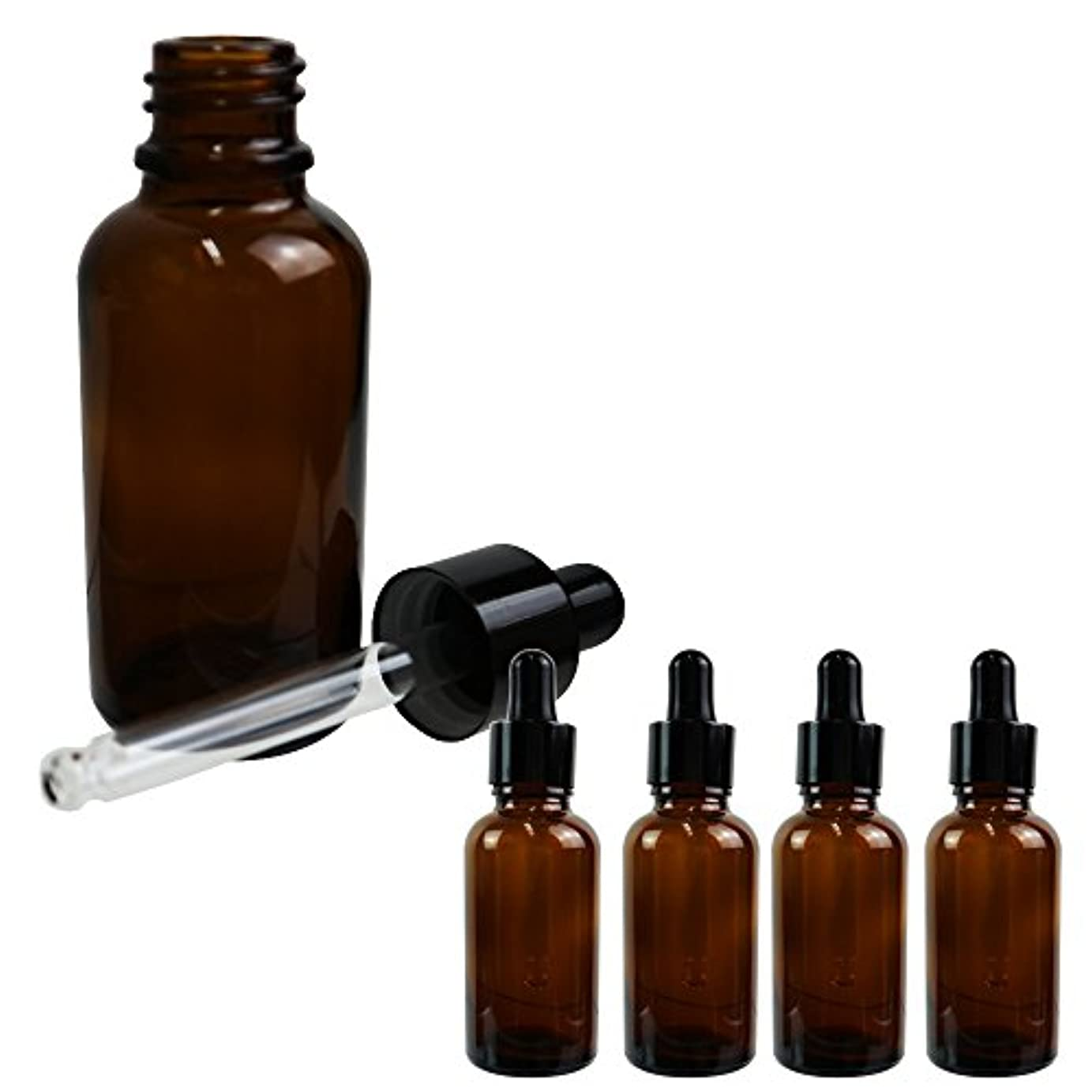 よろしく着陸振動させるSunlitous スポイト付き遮光瓶 香水 アロマ 化粧水 小分け 保存用 30ml 5本セット (ブラウン)