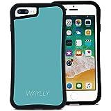 WAYLLY(ウェイリー) iPhone8Plus ケース iPhone 7Plus iPhone6Plus iPhone6sPlus くっつくケース 着せ替え 耐衝撃 米軍MIL規格 [スモールロゴ ミントブルー] MK